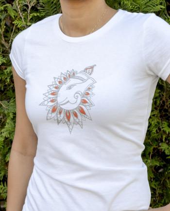 Ganesha white Tee for women by YogaDham.com