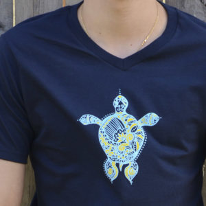 Navy Blue Mens T-Shirt by YogaDham
