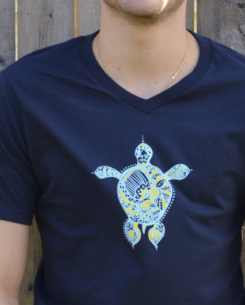Navy Blue Mens T-Shirt by YogaDham