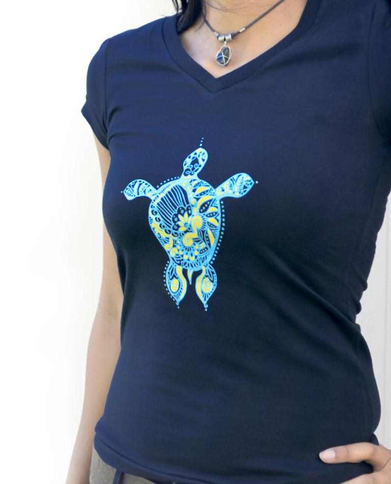 Kurma Navy Blue T-Shirt for Women